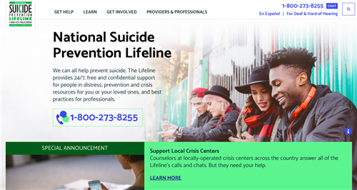 National Suicide Prevention LIfeline Website image