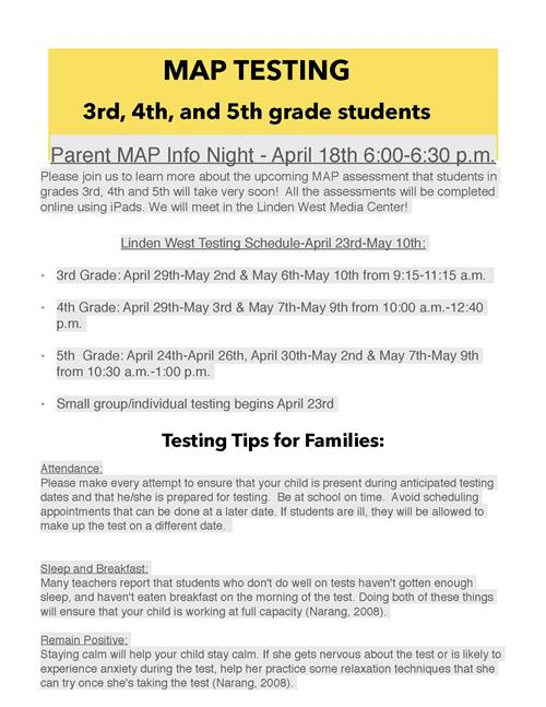 Map Testing Schedule Tips Parent Meeting - Online-us-map-test