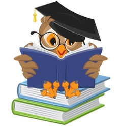 Clip art image of an owl reading a book.