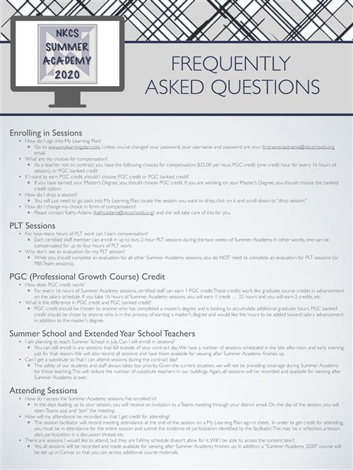 Summer Academy FAQ Image