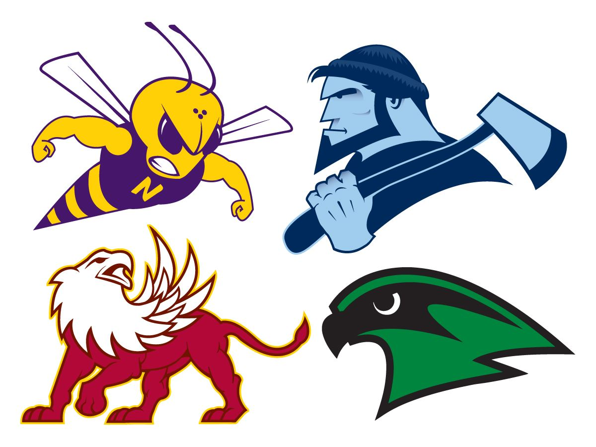 Image that combines all four high school mascots