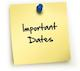 Clip art image of a post it note that says Important Dates