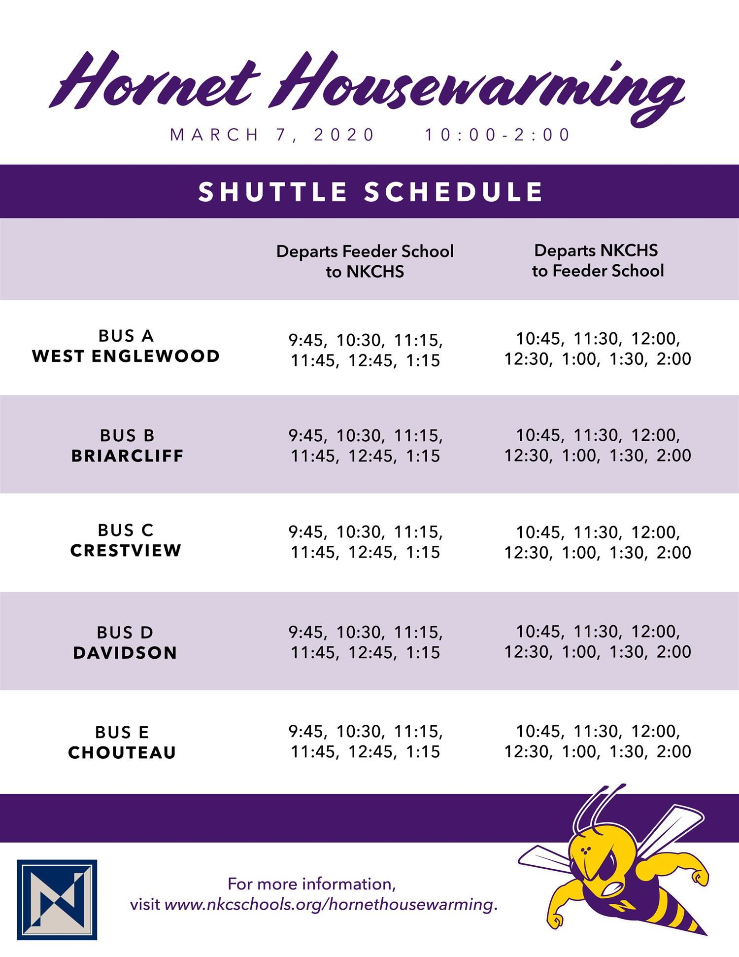 shuttle schedule - click for PDF